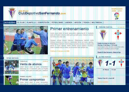 Visual mockup for a football club