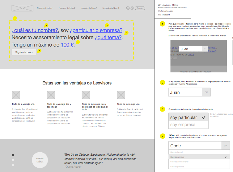 Lexvisors wireframing